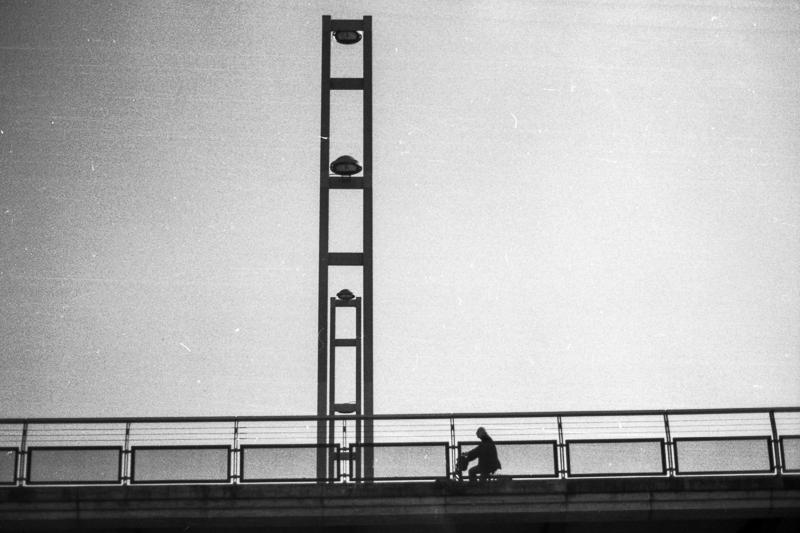 Cycling on a bridge