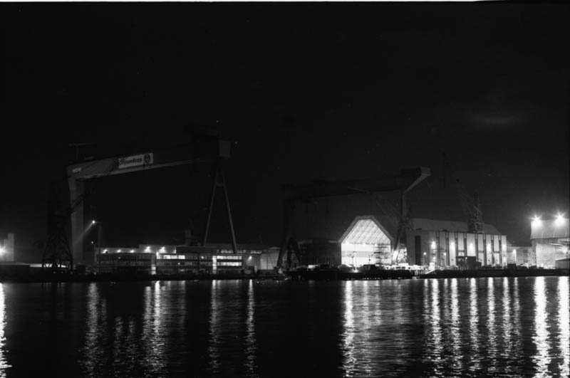 Kiel Harbour at night.